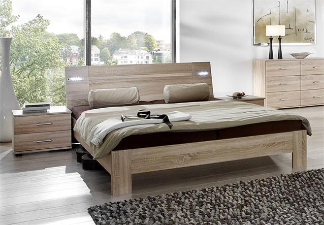 futonbett viza bett in sonoma eiche s gerau inkl beleuchtung 140x200 ebay. Black Bedroom Furniture Sets. Home Design Ideas