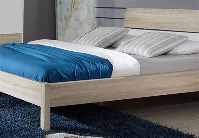 futonbett kayo bett singlebett in sonoma eiche s gerau und wei 160x200 cm ebay. Black Bedroom Furniture Sets. Home Design Ideas