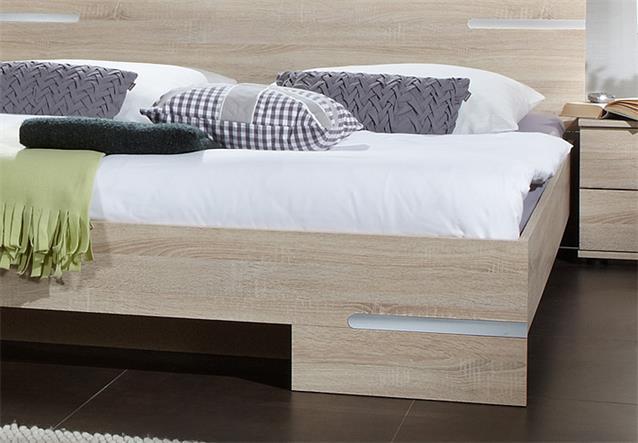 futonbett anna 160x200 bett in sonoma eiche s gerau mit chromabsetzungen ebay. Black Bedroom Furniture Sets. Home Design Ideas