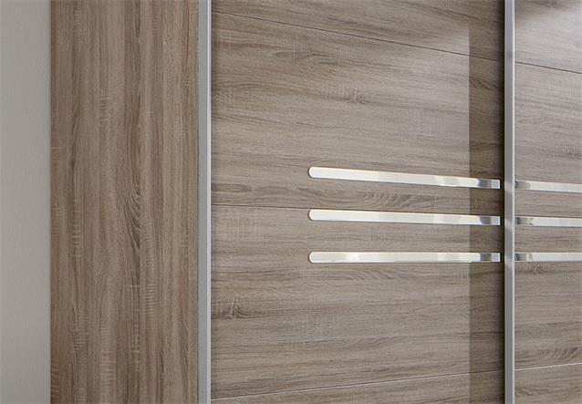schlafzimmer kombi 2 in eiche montana chromabsetzungen bett schrank nachtkommode ebay. Black Bedroom Furniture Sets. Home Design Ideas