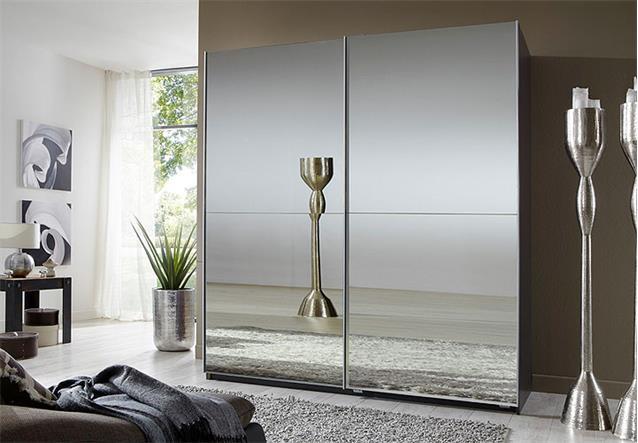 schwebet renschrank lesca kleiderschrank in lavabraun mit spiegel 180 cm breit ebay. Black Bedroom Furniture Sets. Home Design Ideas