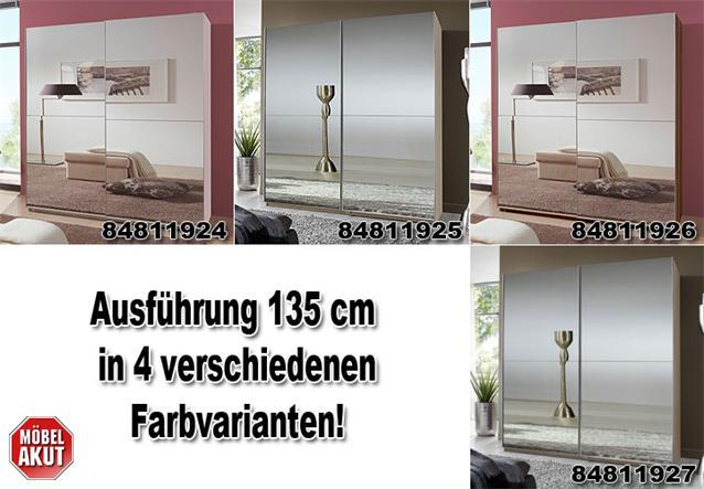 schwebet renschrank lesca kleiderschrank in wei mit spiegelfront 135 cm breit ebay. Black Bedroom Furniture Sets. Home Design Ideas