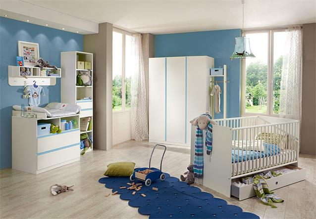 babyzimmer bibi 7 teilig babybett schrank wickelkommode regal in wei iceblau ebay. Black Bedroom Furniture Sets. Home Design Ideas