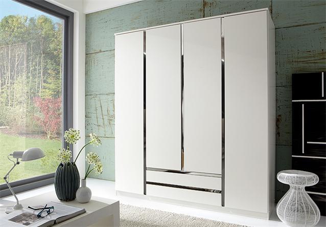 kleiderschrank line schrank dreht renschrank in wei und chrom 180 cm ebay. Black Bedroom Furniture Sets. Home Design Ideas
