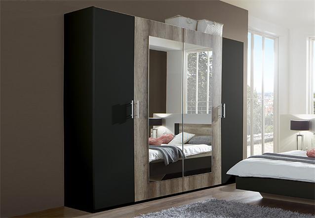 kleiderschrank franziska schrank dreht renschrank in lava und wildeiche 225 cm ebay. Black Bedroom Furniture Sets. Home Design Ideas