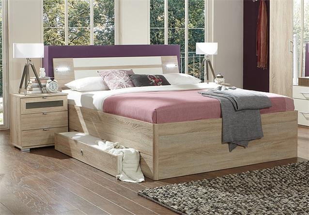bett modest bettgestell sonoma eiche s gerau und wei inkl. Black Bedroom Furniture Sets. Home Design Ideas