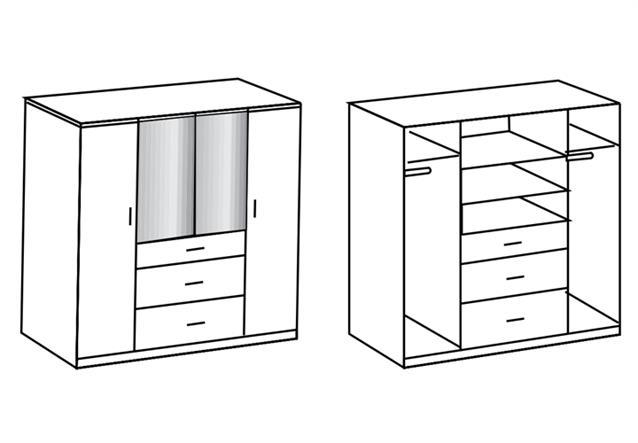 kleiderschrank clack dreht renschrank in hochglanz wei. Black Bedroom Furniture Sets. Home Design Ideas