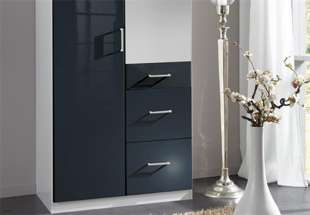 kleiderschrank clack dreht renschrank hochglanz schwarz alpinwei spiegel 90 cm. Black Bedroom Furniture Sets. Home Design Ideas