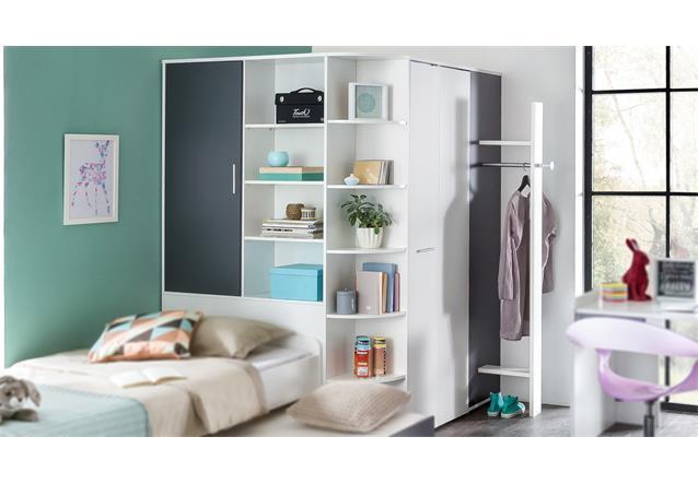 begehbarer eckschrank joker mit faltt r kleiderschrank alpinwei anthrazit ebay. Black Bedroom Furniture Sets. Home Design Ideas