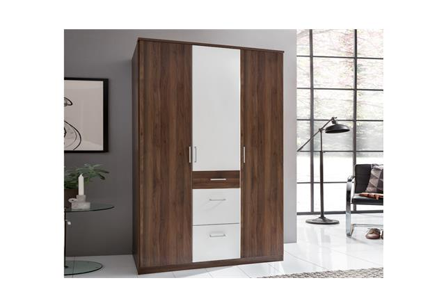 kleiderschrank click in nussbaum und alpinwei dreht renschrank schrank 135 cm ebay. Black Bedroom Furniture Sets. Home Design Ideas