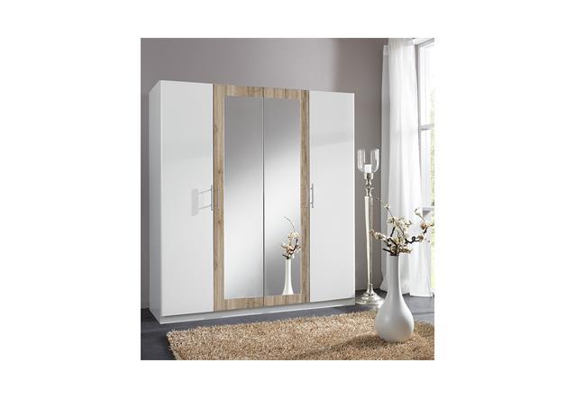 kleiderschrank drive dreht renschrank schrank in wei und san remo eiche 180 cm. Black Bedroom Furniture Sets. Home Design Ideas