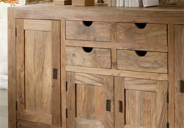 sideboard yoga sheesham massivholz schrank landhausstil von wolf m bel ebay. Black Bedroom Furniture Sets. Home Design Ideas