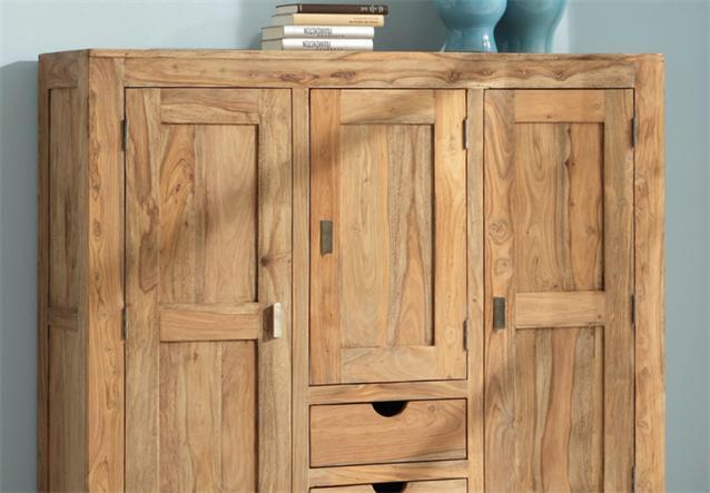 highboard yoga sheesham massivholz schrank landhausstil von wolf m bel ebay. Black Bedroom Furniture Sets. Home Design Ideas