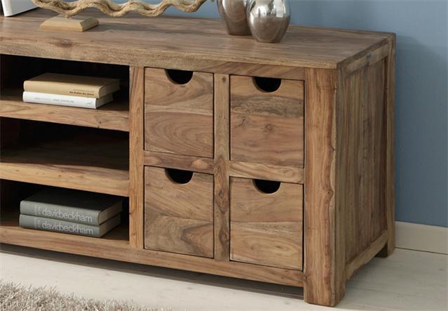 longboard yoga sheesham massivholz lowboard landhausstil von wolf m bel ebay. Black Bedroom Furniture Sets. Home Design Ideas