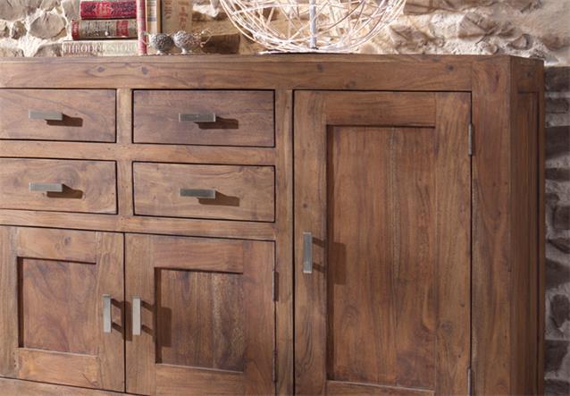 sideboard kommode guru 6649 akazie massiv stone von wolf m bel ebay. Black Bedroom Furniture Sets. Home Design Ideas