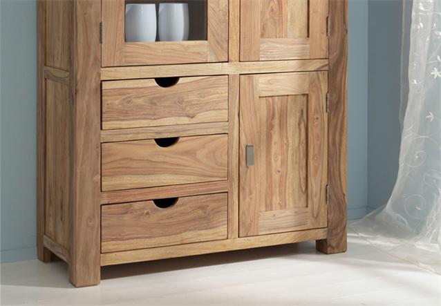 vitrine yoga sheesham massivholz schrank highboard landhausstil von wolf m bel ebay. Black Bedroom Furniture Sets. Home Design Ideas