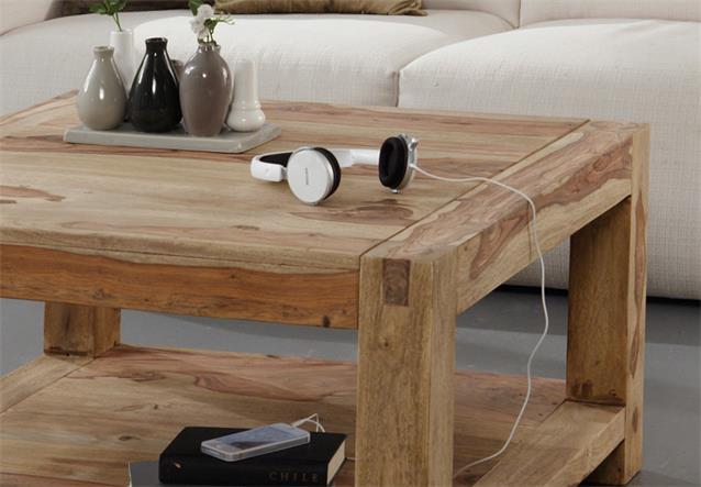 Couchtisch 80×80 Yoga Sheesham Massivholz Tisch