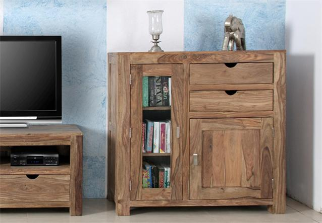 wohnwand yoga sheesham massivholz vitrine tv board landhausstil von wolf m bel ebay. Black Bedroom Furniture Sets. Home Design Ideas