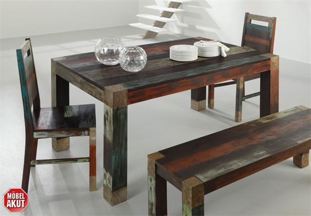 esstisch daro tisch in mango massiv vintage used look multicolor 160x100. Black Bedroom Furniture Sets. Home Design Ideas