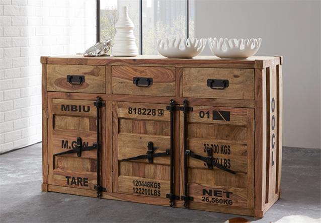 kommode 6902 container von wolf m bel in sheesham natur ebay. Black Bedroom Furniture Sets. Home Design Ideas