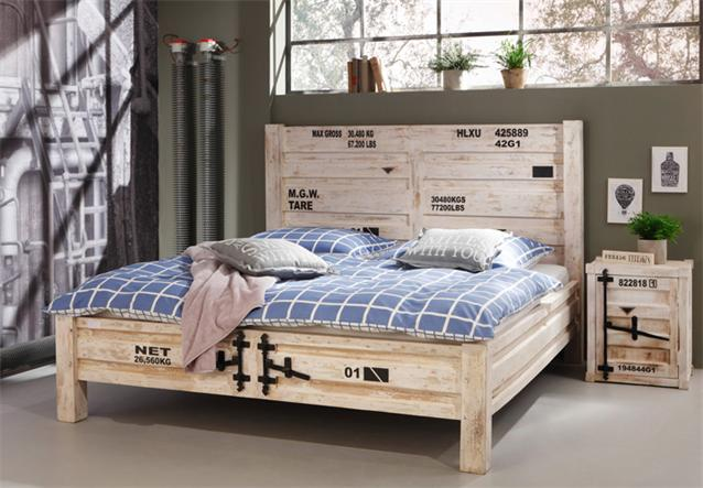 bett 6910 container von wolf m bel in massivholz akazie antik weiss used look ebay. Black Bedroom Furniture Sets. Home Design Ideas
