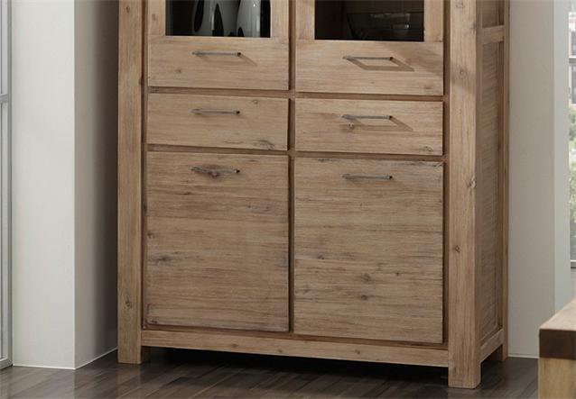 vitrine 9609 coast schrank von wolf m bel in massivholz akazie ebay. Black Bedroom Furniture Sets. Home Design Ideas