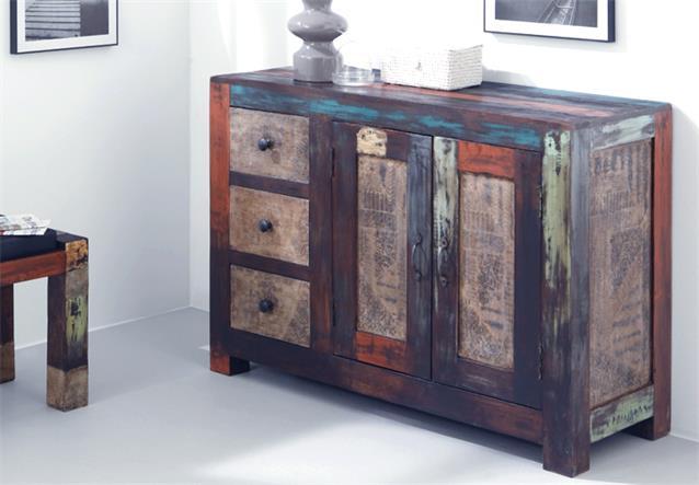 kommode sideboard goa schrank in massivholz mango vintage used look multicolor ebay. Black Bedroom Furniture Sets. Home Design Ideas