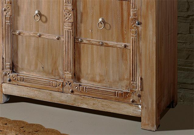 schrank taj 2601 dielenschrank hochschrank in akazie massiv lehm wolf m bel ebay. Black Bedroom Furniture Sets. Home Design Ideas