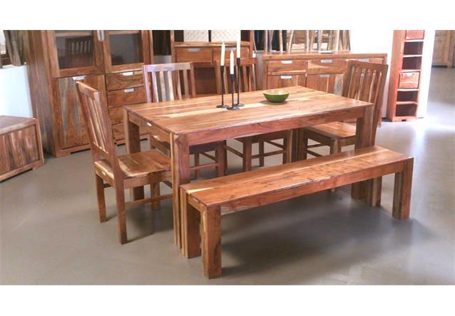 esstischgruppe vision akazie massivholz tisch 4 st hle und. Black Bedroom Furniture Sets. Home Design Ideas