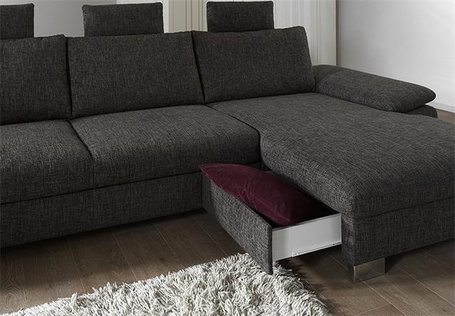 Eckgarnitur bliss wohnlandschaft sofa stoff grau braun mit for Kleine eckgarnitur