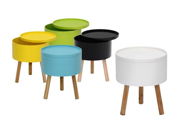 beistelltisch tablet 3 tisch mit tablett deckel rund in wei und massiver esche ebay. Black Bedroom Furniture Sets. Home Design Ideas