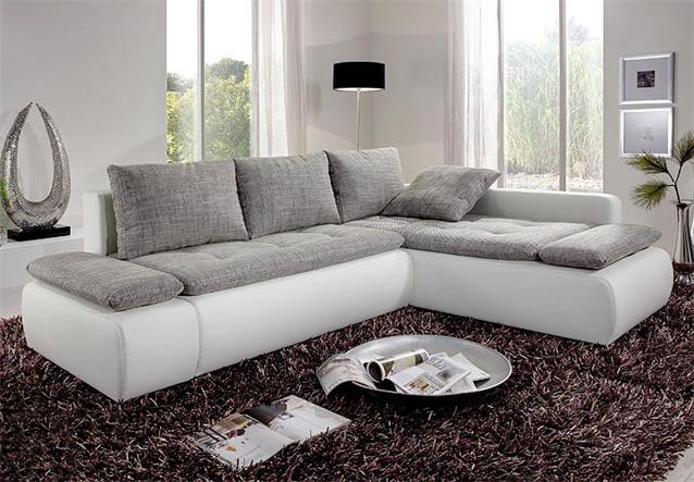 wohnlandschaft sunshine ecksofa mit bettfunktion in wei und grau ebay. Black Bedroom Furniture Sets. Home Design Ideas