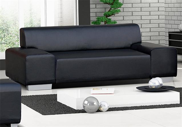 sofa 3 sitzer peter wohnzimmer couch in lederlook schwarz mit f en in aluoptik ebay. Black Bedroom Furniture Sets. Home Design Ideas