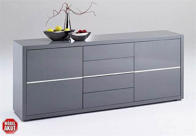 sideboard sydney kommode in grau hochglanz lackiert ebay. Black Bedroom Furniture Sets. Home Design Ideas