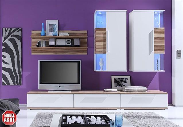 wohnwand berry anbauwand in wei baltimore walnuss neu ebay. Black Bedroom Furniture Sets. Home Design Ideas