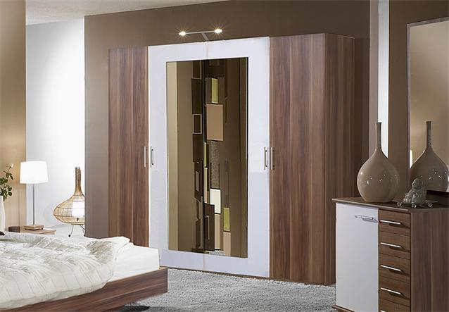 kleiderschrank i napoli schrank in nussbaum und wei 225 cm ebay. Black Bedroom Furniture Sets. Home Design Ideas
