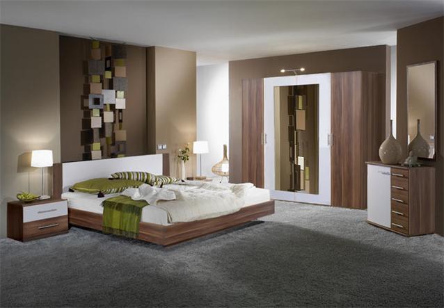 schlafzimmer set napoli schrank bett nachtkonsolen in nussbaum und wei. Black Bedroom Furniture Sets. Home Design Ideas