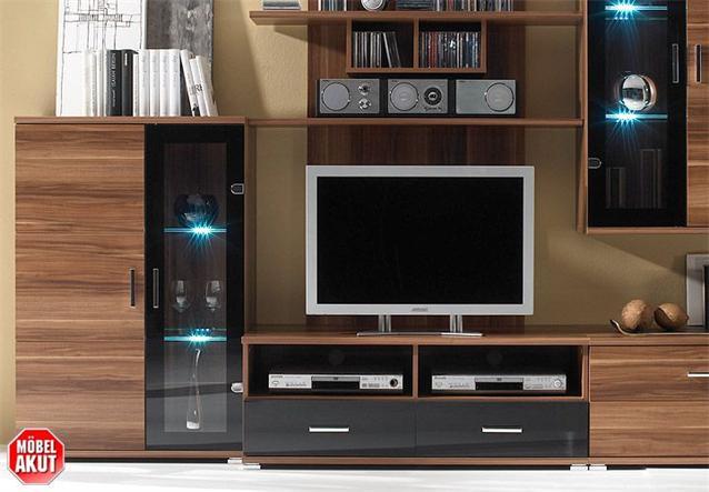 wohnwand free 1 nussbaum schwarz inklusive led ebay. Black Bedroom Furniture Sets. Home Design Ideas