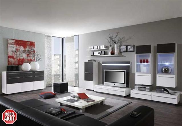 wohnwand activ in wei anthrazit inkl led neu ebay. Black Bedroom Furniture Sets. Home Design Ideas
