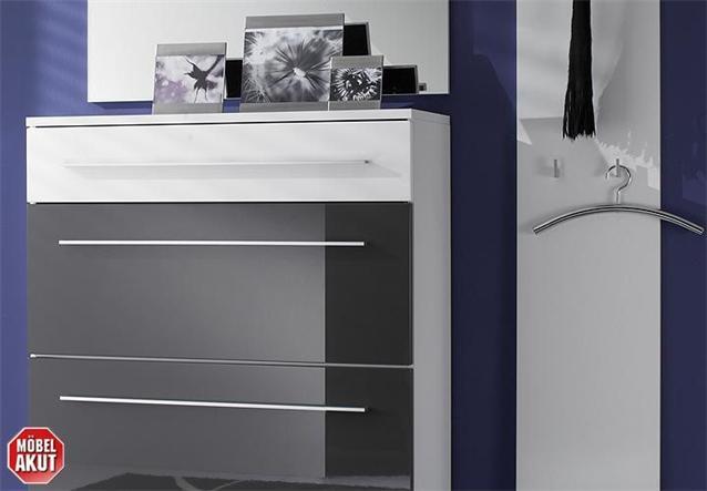 garderoben set lyon in grau wei hochglanz neu ebay. Black Bedroom Furniture Sets. Home Design Ideas