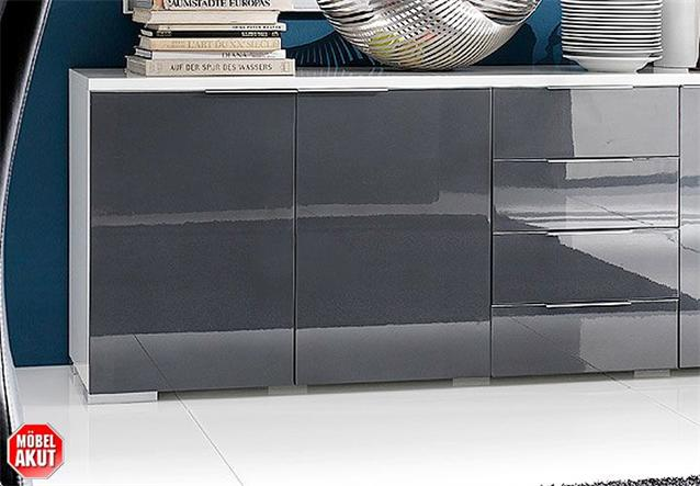 sideboard coast kommode wei grau hochglanz neu ebay. Black Bedroom Furniture Sets. Home Design Ideas