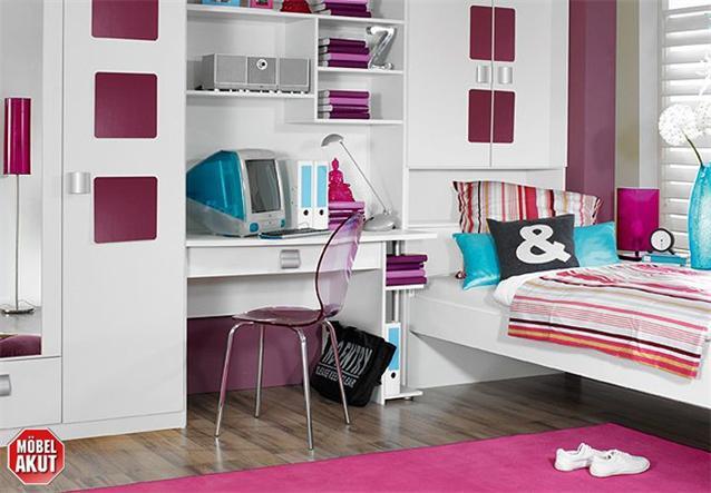 jugendzimmer mika 5 kinderzimmer in wei aubergine ebay. Black Bedroom Furniture Sets. Home Design Ideas