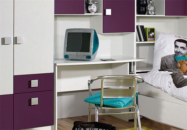 jugendzimmer skate vi kinderzimmer in wei und lila mit 2. Black Bedroom Furniture Sets. Home Design Ideas