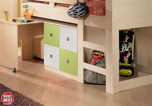 jugendzimmer sunny set 4 teilig kinderzimmer ahorn gr n und wei ebay. Black Bedroom Furniture Sets. Home Design Ideas