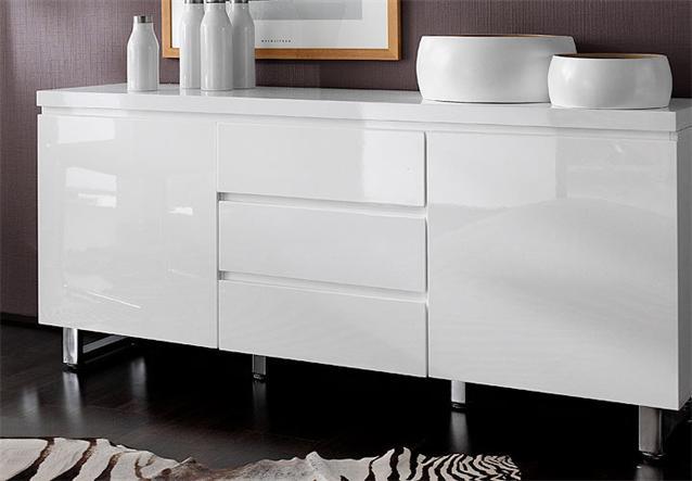 sideboard ii sydney kommode in wei hochglanzlack 2 t rig ebay. Black Bedroom Furniture Sets. Home Design Ideas