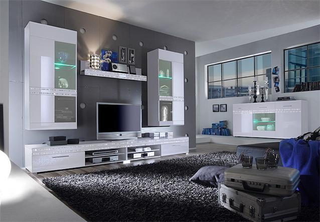 """wohnwand """"sheen"""", anbauwand in weiß hochglanz mit strass, Gestaltungsideen"""