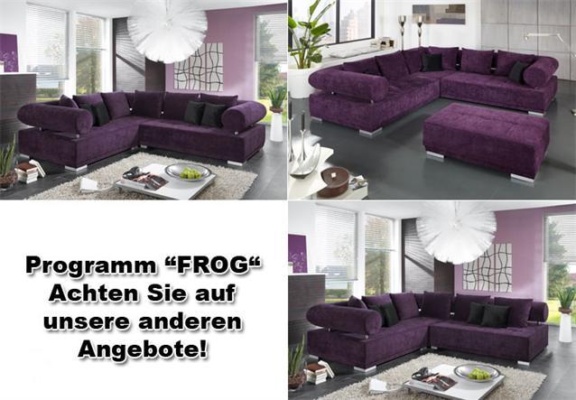 wohnlandschaft frog sofa megasofa bigsofa in lila und silber ebay. Black Bedroom Furniture Sets. Home Design Ideas