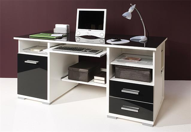 schreibtisch b rotisch computertisch wei und schwarz glas ebay. Black Bedroom Furniture Sets. Home Design Ideas