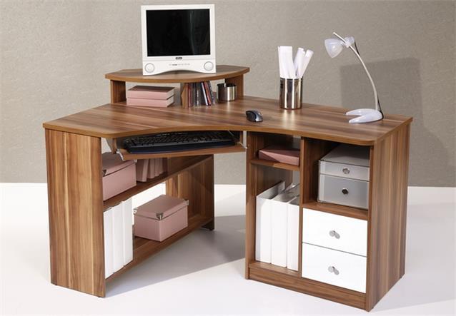Schreibtisch eckschreibtisch tanga in walnuss computer pc for Platzsparender schreibtisch