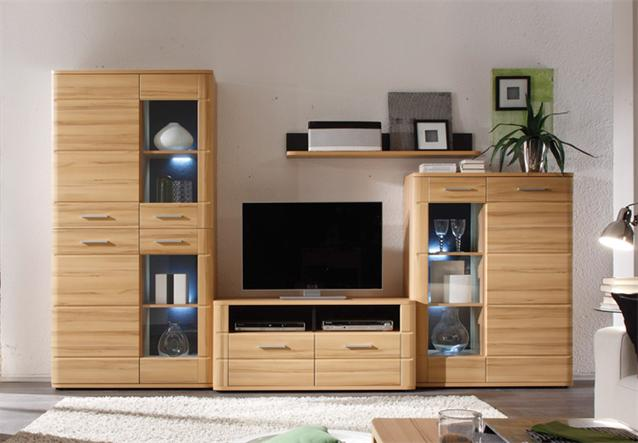wohnwand wohnzimmer anbauwand in buche miltenberg gerundet mit led. Black Bedroom Furniture Sets. Home Design Ideas